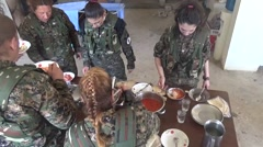Syria - February 13, 2016: YPJ troops eating the dinner, SDF - Training camp Stock Footage