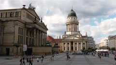 Pan shot of Concert Hall, Konzerthaus at Gendarmenmarkt square in Berlin Stock Footage