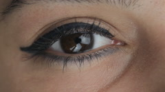Close up big girl's brown eyes Stock Footage