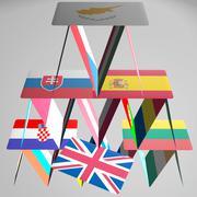 Europe BREXIT house of cards collapse danger disaster CGI 3D EU Stock Illustration