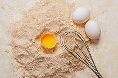 Cooking ingredients for dough preparation. Stock Photos