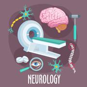 Neurology flat symbol with brain research icons Stock Illustration