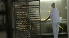 Automated Production Of Bread. Conveyor At The Bakery. Bakery Equipment Stock Footage