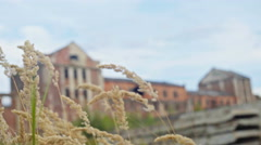 Abandoned Factory middle of a field in a dangerous condition with collapsed Stock Footage
