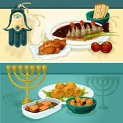 Jewish cuisine dishes for holiday dinner banners Stock Illustration