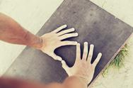 Close up of man hands exercising on bench outdoors Stock Photos