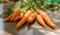 Bunch of orange fresh carrots with green eaves on a table at sunny day Stock Photos