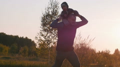 Happy father playing with baby Stock Footage