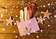 Close up of gingerbread and baking kitchenware set Stock Photos