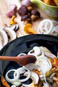 Frying pan with boletus, chanterelle and onion Stock Photos