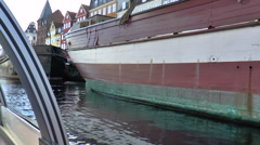 View from a Tourist Boat Going Along the Canal at Nyhavn in Copenhagen Stock Footage