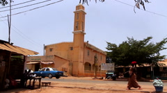 Islamic church in city of Bisseau - Guinea Africa Stock Footage