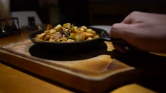 4k Waiter Serving Meal. Dish with scrambled with fried prawns and cheese  -Dan Stock Footage