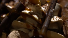 Decorating Dessert Frappe Whipped Cream with chocolate and different sweets-Dan Stock Footage