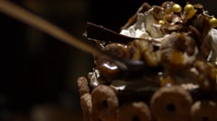Slow Motion of Hand Using Spoon Eating Frappe Whipped Cream with chocolate.-Dan Stock Footage