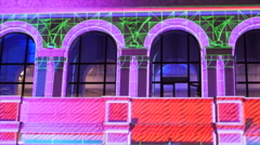Laser Video Mapping Show On Facade Of a building Stock Footage