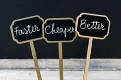 Business message Faster, Cheaper, Better Stock Photos