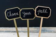 Motivational message Choose Your Path written with chalk Stock Photos