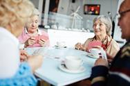 Group of friendly seniors playing cards at leisure Stock Photos