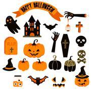 Halloween vector clipart set. Spooky pumpkin icons Stock Illustration