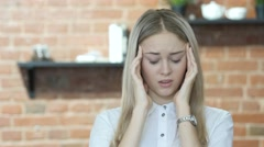 Headache, Frustration, Tense Beautiful Brunette Woman Stock Footage