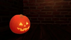 Scary Halloween carved pumpkin. Jack-O-Lantern. 3D animation, full HD. Stock Footage