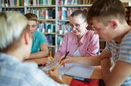 Students of college working in group after lessons Stock Photos