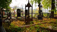 Necropolis Cemetery autumn Stock Footage
