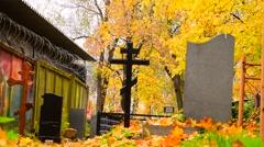 Cemetery In Autumn Stock Footage