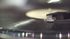 Detail shot of a record player Stock Footage