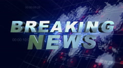 Breaking News 3D Motion Graphics World Map Blue Background 4K Stock Footage