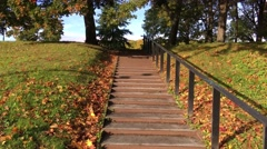 Walking ip the stairs during autumn Stock Footage