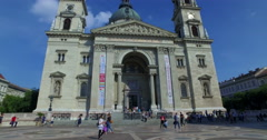 Budapest, Hungary.  Circa August 2016. Camera movement outside St. Stephen Stock Footage