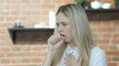 Coughing, Beautiful Brunette Woman Suffering From Cough, Indoor Stock Footage
