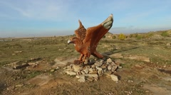 Statue bird eagle aerial shot Stock Footage
