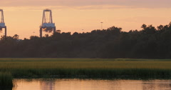 Industrial Cranes at Sunset with Marsh Stock Footage
