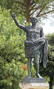 Bronze statue of the emperor Caesar Augustus in the park Stock Photos