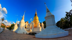 Wat Suan Dok Landmark Temple Of Chiang Mai, Thailand (fisheye lens , loop right) Stock Footage