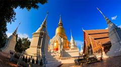 Wat Suan Dok Landmark Temple Of Chiang Mai, Thailand (fisheye Lens , loop left) Stock Footage