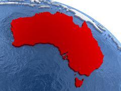 Australia on globe Stock Illustration