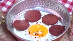 Turkish Sausage (sucuk) and egg Stock Footage