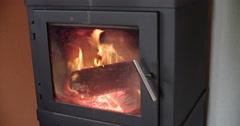 Wood stove burning 4K Stock Footage