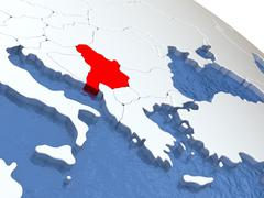 Serbia on globe Stock Illustration