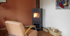 Living room wood stove burning 4K Stock Footage