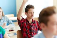 Happy student boy raising hand at school lesson Stock Photos