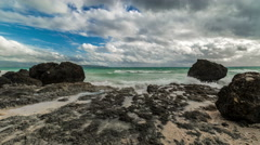 View on cloudy and rocky Boracay beach in Philippines. 4K TimeLapse - August Stock Footage