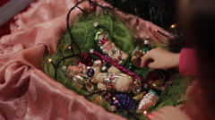 Sisters are preparing for the new year, choose Christmas decorations Stock Footage