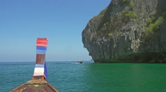 View on rocks of Phi Phi Don Island from boat Stock Footage