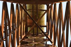 The old rusty water tower tilted Stock Photos