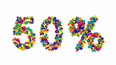 50 percent sign in colorful balls and spheres Stock Footage